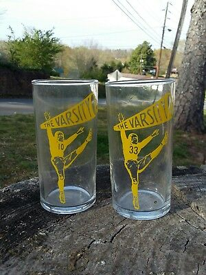 (2) Vintage The Varsity Restaurant Atlanta Georgia Football Player Glasses!