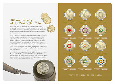 Free Post 2018 $2 30Th Anniversary Of $2 Coin - Twelve (12) Coloured Coins Set