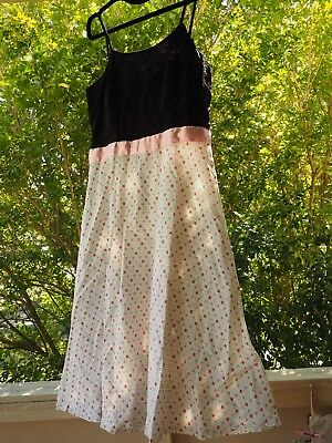 Handmade Lace And Cotton Dress: Black, Pink And white