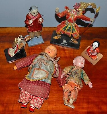Group of 6 Old or Antique Asian Dolls Chinese Japanese Thai Dolls Embroidery