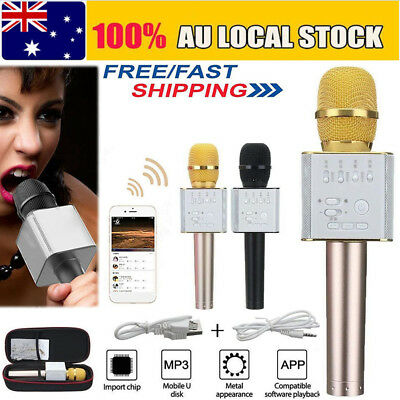Q9 Wireless Bluetooth Karaoke Microphone Speaker Handheld Mic USB Player KTV AU