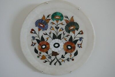Vintage Alabaster Plate Inlaid With Precious Stone From India