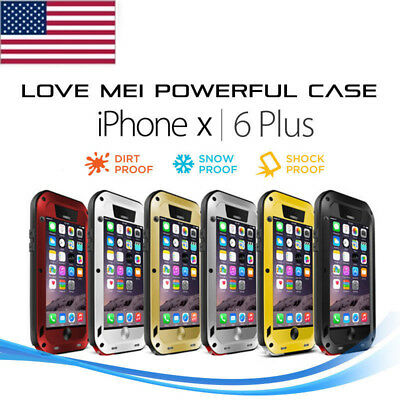 LOVE MEI Powerful Shockproof Dust Proof Metal Case Cover for iPhone Xs Max Xr 8+
