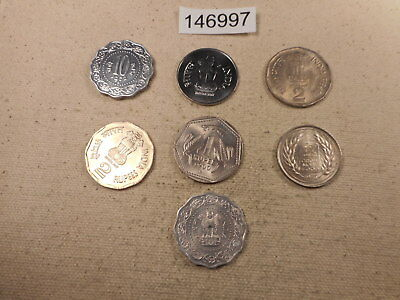 Seven Raw Coins - India - Mixed Dates Denominations - Nice Type Lot - # 146997