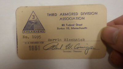 orig WWII US ARMY 3RD ARMORED DIVISION SPEARHEAD  MEMBERSHIP  Card 1951 kOREA