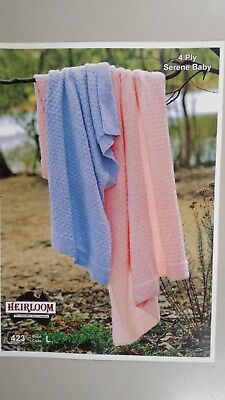 Heirloom Knitting Pattern #423 Baby Blankets to Knit in 4 Ply Baby Yarn