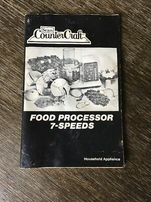 Vintage Sears Counter Craft Food Processor 7-Speeds Manual Instructions Recipes