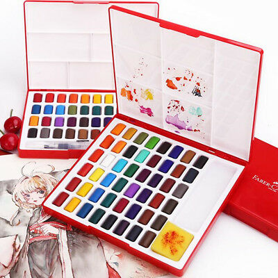 24/36/48 Colors Solid Watercolor Cakes Paints Set Drawing Paint With Sponge