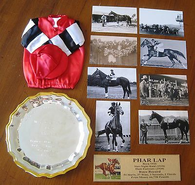 PHAR LAP Mini Silks photos and plaque and plate 1930 1931 Legend of the Turf