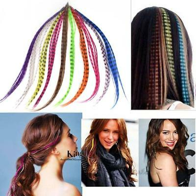 "50pcs Grizzly synthetic Feather hair Extensions 16"" with 50 beads for free BP"