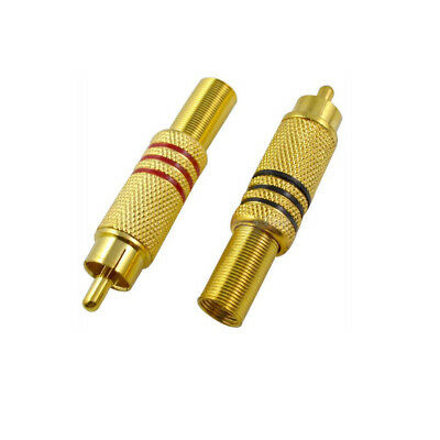 5-10pcs Gold Plated RCA Plug Audio Connector Metal Spring Male Cable Adapter