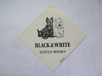 BLACK & WHITE SCOTCH WHISKY LABEL c1960s SCOTTIE DOGS PICTURED
