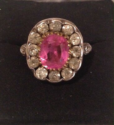 Heavy Sterling Silver Fancy Engraved Ring W/ Lrg Pink Cntr Stone & Clear Stones