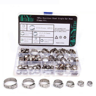 70pcs 304 Stainless Steel Single Ear Hose Clamps Kit 7mm-21mm with Storage Box