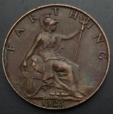 Great Britain, UK Farthing 1925. KM#825. Quarter penny coin. 1/4 Cent Coin. G-V.