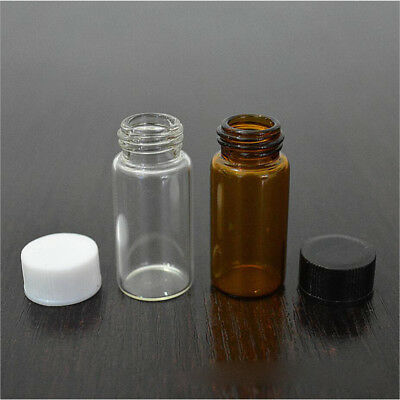 3ml/5ml Clear Amber Small Glass Vials Bottles Sample Containers w/ Screw Cap AU
