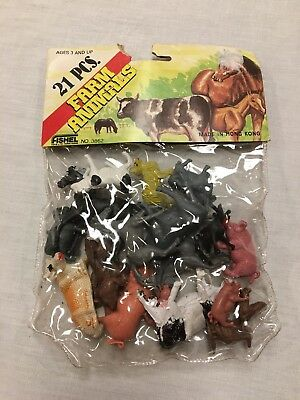 NOS 21pc Farm Animal Set Fishal Company Made In Hong Kong