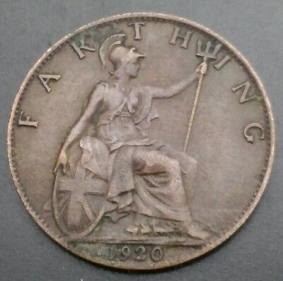 Great Britain, UK Farthing 1920. KM#825. Quarter penny coin. 1/4 Cent Coin. G-V.