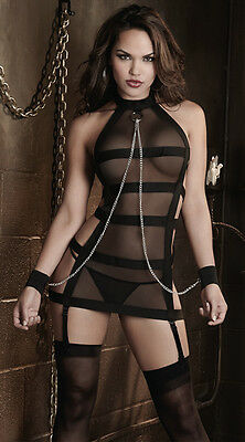 Banded Mesh Dress Sheer Halter Chains Fetish Lingerie Bondage PVC Black Cuffs