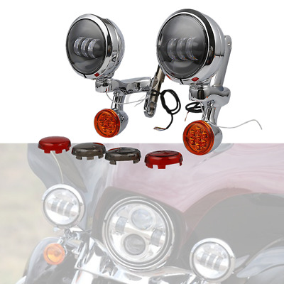 "4.5"" Auxiliary Fog Light Bracket Turn Signal For Harley Electra Street Glide USA"