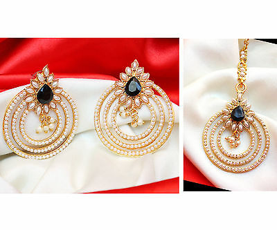 Indian Ethnic Bollywood Bridal Black Forehead Maang Tikka Earring Set Jewelry