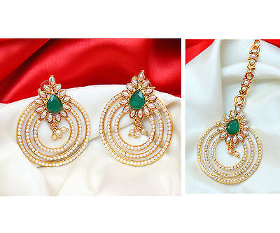 Indian Designer Bollywood Bridal Green Forehead Maang Tikka Earring Set Jewelry