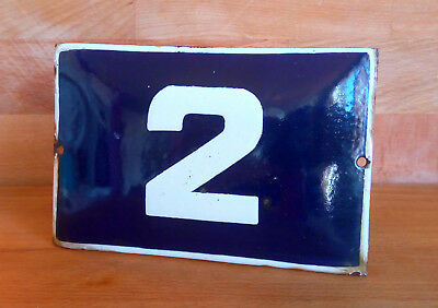 ANTIQUE VINTAGE ENAMEL SIGN HOUSE NUMBER # 2 BLUE DOOR GATE STREET SIGN 1950's