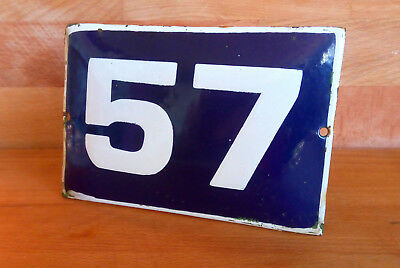 ANTIQUE VINTAGE ENAMEL SIGN HOUSE NUMBER # 57 BLUE DOOR GATE STREET SIGN 1950's