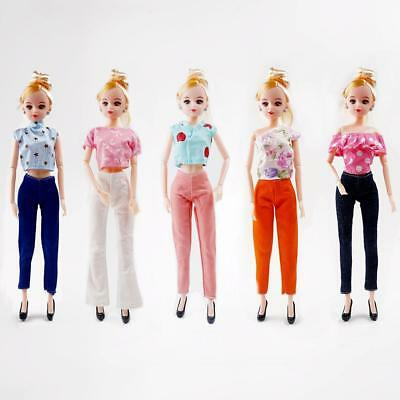 Lot 10 Pcs 5 Tops & 5 Trousers Fashion Casual Clothes Outfits For 30 cm Doll