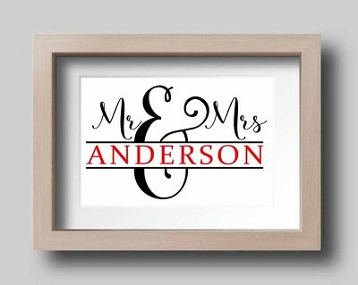 A4 Couple Name Personalised Love Mr & Mrs Wedding Gift Wall Print Decor