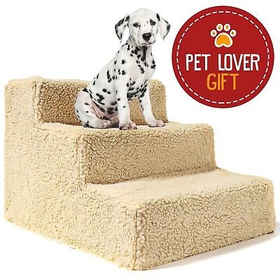 Dog Stairs For High Bed Pet 3 Steps Ramp Ladder Small Doggie Cat Portable Travel