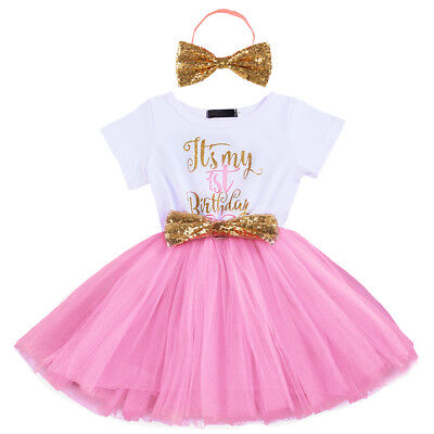 Baby Girl 1st 2nd Birthday Cake Smash Outfit Bow Sequin Tutu Princess Dress