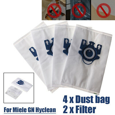 4Pcs Efficiency Vacuum 3D Cleaner Dust Bags + 2 Filters For Miele GN Hyclean