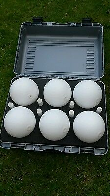6x 140mm dia Spheres 6x Stems c/w magnets, ground spikes & carry case