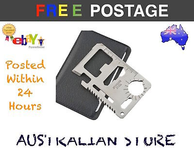 Black Camping Hunting Tactical survival Pocket knife Multi Tool Cards 11 in 1