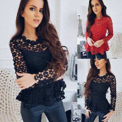 Fashion Womens Long Sleeve Shirt Casual Lace Blouse Ladies Loose Tops T Shirt