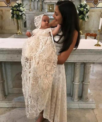 White Ivory Baby Christening Gown Baptism Dress Custom Party Lace Cap Sleeve