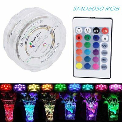 16Colors SMD5050 RGB 10 LED Lamp Underwater Light Fish Tank Decor+Remote Control