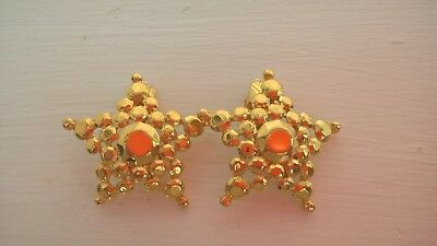 Vintage Gold Tone Star Clip On Earrings  Signed Trifari
