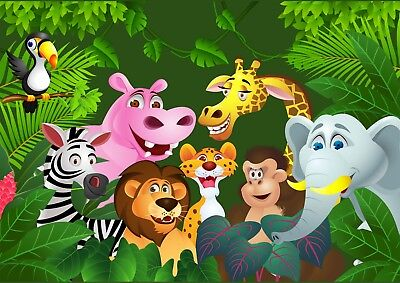 Cartoon Jungle Animals Kids Bedroom Giant Poster - A4 A3 A2 A1 Sizes