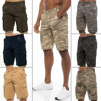 Mens Cargo Combat Shorts Cotton Camouflage Army Work Wear Half Pants Trousers UK