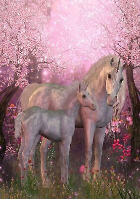 Fairytale Unicorn Pink Cherry Blossom Girls Giant Poster - A4 A3 A2 A1 Sizes