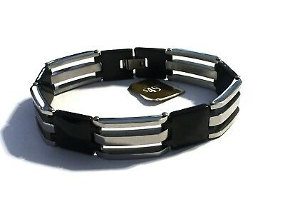 Men's Heavy Stainless Steel Black Silver Bracelet Square Link 15mm Width 8.5""