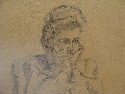 vintage Drawing: WOMAN w Hands on Face, signed K S BOWERS