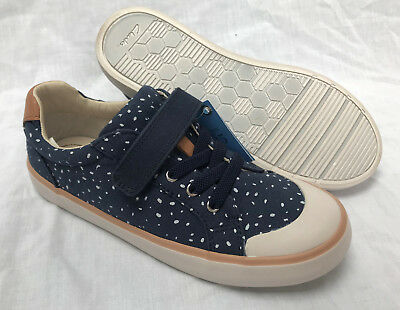 BNIB Clarks Doodles Girls Comic Max Navy Canvas Shoes F Fitting