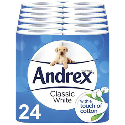 Andrex Classic Clean Touch of Cotton Toilet Roll Tissue Paper - 24 Rolls