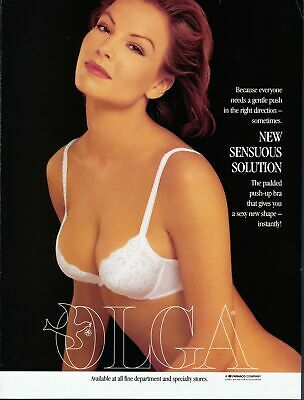 Print Ad~Vintage~1994~Olga~Push Up Bra~White Lace~G200