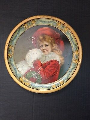 "C.D.Kenny tin plate 9.5""GIRL in redChristmas w/hanger"