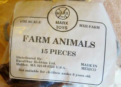 15 Marx Plastic Toy Farm Animals Figures   Cows Goats Pig Sheep Horse
