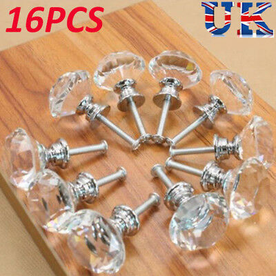 16x40mm Clear Crystal Glass Door Knobs Drawer Cabinet Furniture Kitchen Handle